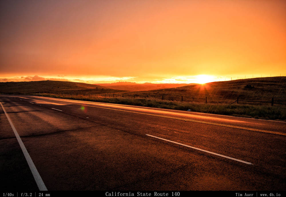 Drive to Yosemite. Transitioning weather on CA-140 as the sunset. Note the rain drops on this image. Behind me was a dramatic full rainbow.